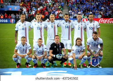 SAINT ETIENNE- FRANCE,  J UNE 2016 :  Iceland team before football match  of Euro 2016  in France between Portugal vs Iceland at the stade geoffroy guichard on June 14, 2016 in Saint Etienne