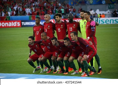 SAINT ETIENNE- FRANCE,  J UNE 2016 :  portugal team in football match  of Euro 2016  in France between Portugal vs Iceland at the stade geoffroy guichard on June 14, 2016 in Saint Etienne