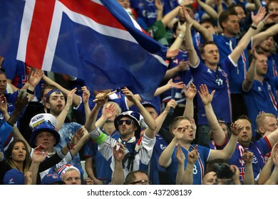 SAINT ETIENNE- FRANCE,JUNE 2016 :fans and supporters the stands in football match  of Euro 2016  in France between Portugal vs Iceland at the stade geoffroy guichard on June 14, 2016 in Saint Etienne