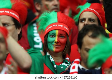 SAINT ETIENNE- FRANCE,JUNE 2016 :fans and supporterson the stands in football match of Euro 2016  in France between Portugal vs Iceland at the stade geoffroy guichard on June 14,2016 in Saint Etienne