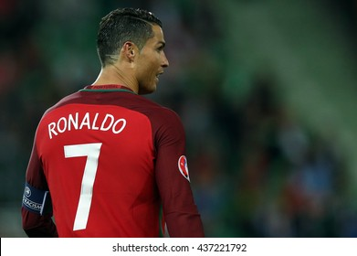 SAINT ETIENNE- FRANCE,JUNE 2016:Cristiano Ronaldo in action during football match  of Euro 2016  in France between Portugal vs Iceland at the stade geoffroy guichard on June 14, 2016 in Saint Etienne