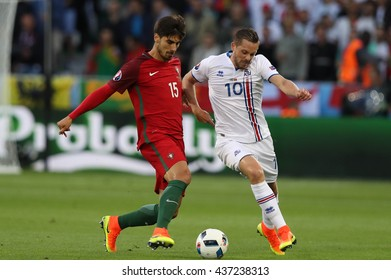 SAINT ETIENNE- FRANCE,JUNE 2016:Gomes Sigurdsson  in action during football match  of Euro 2016  in France between Portugal vs Iceland at the stade geoffroy guichard on June 14, 2016 in Saint Etienne