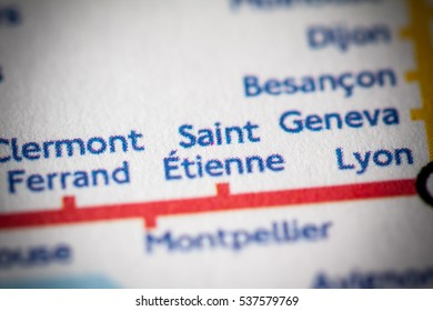 Saint Ettiene, France on a geographical map.