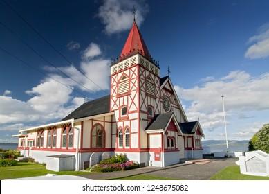 Saint Faiths Anglican Church, Ohinemutu Maori Village, Rotorua, North Island, New Zealand.