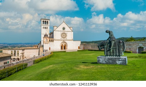 Saint Francis Basilica in Assisi on a sunny summer day. Umbria, central Italy.