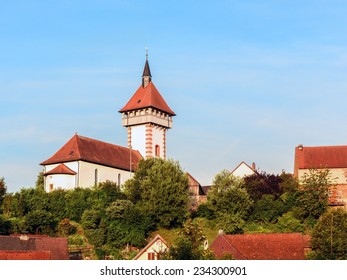 Saint Gangolf Tower in the German Small Town of Hollfeld on a nice summer morning
