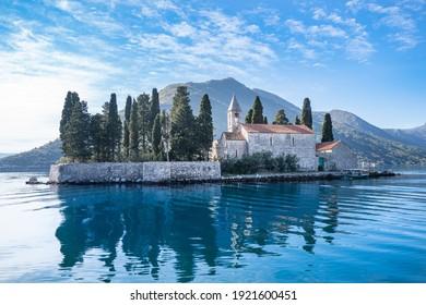 Saint George Benedictine monastery on the Island of Saint George at the bay of Kotor, Montenegro