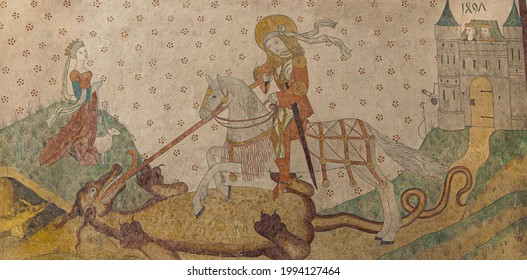 Saint George and the Dragon, an ancient wall-painting in Aarhus cathederal, Denmark, May 14, 2014
