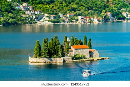 Saint George Island with a Benedictine monastery in the Bay of Kotor - Montenegro, Balkans