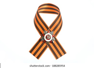 Saint George ribbon with order of the great Patriotic war isolated on white