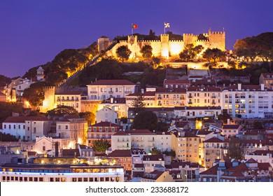 Saint George (Sao Jorge) Castle, view from Miradouro Sao Pedro de Alcantara in Lisbon, Portugal.