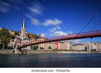 The Saint Georges footbridge and the Saint Georges church in Vieux Lyon, Lyon, France.