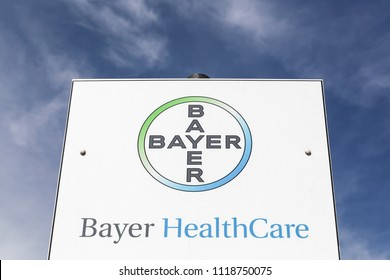 Saint Georges, France - June 2, 2018: Bayer healthcare logo on a panel. Bayer is a German multinational chemical and pharmaceutical company founded in Barmen, Germany