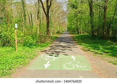 Saint Germain en Laye; France - april 18 2019 : bicycle lane in the Saint Germain forest