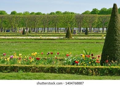 Saint Germain en Laye; France - april 18 2019 : the picturesque castle park