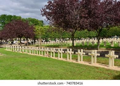 Saint Germain en Laye; France - september 4 2017 : military tombs in the cemetery