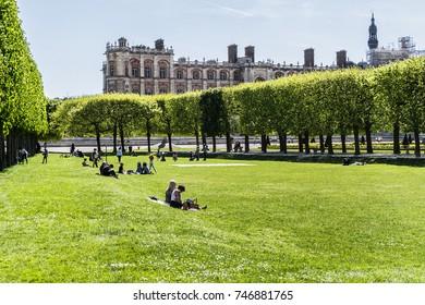 SAINT GERMAIN EN LAYE, FRANCE, APRIL 12, 2017: Beautiful view of public Garden near Chateau de Saint-Germain-en-Laye (1124). Chateau de Saint-Germain-en-Laye, situated around 13 miles west of Paris.