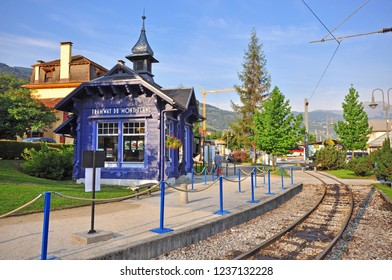 SAINT GERVAIS, FRANCE - AUGUST 13: Montblanc touristic tramway station in Saint Servais on August 20, 2015. Mont Blanc Tramway is a mountain railway line in the Haute-Savoie, France.