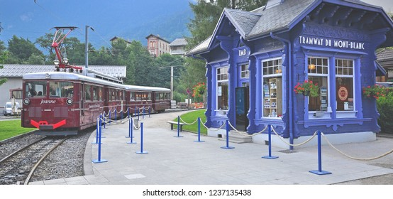 SAINT GERVAIS, FRANCE - AUGUST 13: Train at the Montblanc tramway station in Saint Servais on August 13, 2015. Mont Blanc Tramway is a mountain railway line in the Haute-Savoie, France.