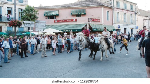 Saint Gilles ,Camargue-France 2016 Traditional festival every year in August, the horsemen conduct the bulls running through the streets of the village.