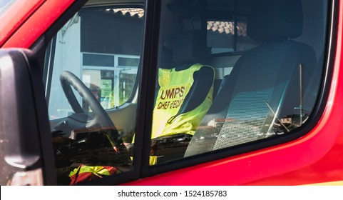 Saint Gilles Croix de Vie, France - October 19, 2018: ambulance unit Mobile First Aid (UMPS) on an event on a fall day