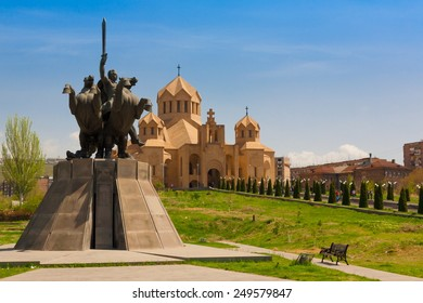 Saint Gregory armenian cathedral  church symbol  1700th anniversary proclamation of christianity state religion, monastery in Yerevan