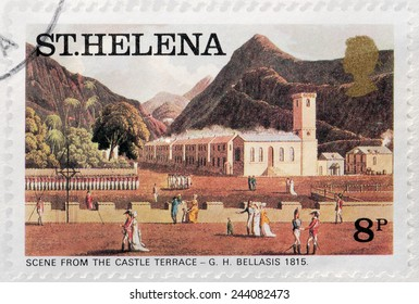 SAINT HELENA - CIRCA 1976: A stamp printed by ST. HELENA (GREAT BRITAIN) shows painting Scene From The Castle Terrace by George Hutchins Bellasis, circa 1976