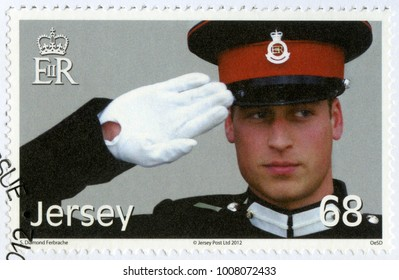 SAINT HELIER, JERSEY - JUNE 21, 2012: A stamp printed in Jersey shows William Arthur Philip Louis, Prince William, Duke of Cambridge, 30th Birthday, 2012