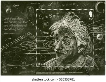 SAINT HELIER, JERSEY - MAY 11, 2016: A stamp printed in Jersey shows Albert Einstein (1879-1955), physicist, Einstein's Theory of General Relativity