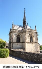Saint Hubert gothic chapel with Leonardo da Vinci tomb, Amboise, Loire Valley, France, Europe, Unesco world heritage site