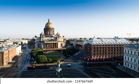 Saint Isaac's Cathedral in Saint Petersburg Aerial View of the city in the morning