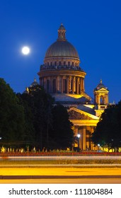 Saint Isaac's Cathedral in St. Petersburg in summer night. Russia