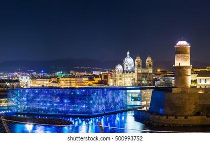 Saint Jean Castle and Cathedral de la Major and the Vieux port in Marseille, France