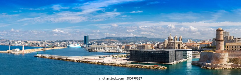 Saint Jean Castle and Cathedral de la Major and the Vieux port in Marseille, France in a summer day