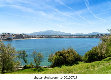 Saint Jean de Luz Bay with the Rhune mountain in the background. Donibane, Basque Country of France.