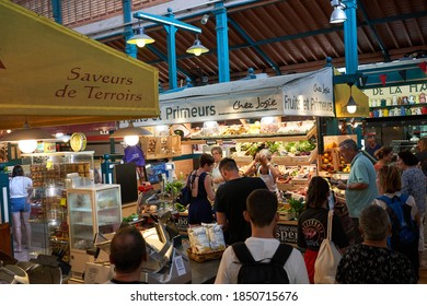 Saint Jean de Luz, France - August 22, 2019 -  lunch visit to the market with fresh fruits, vegetables and other local foods