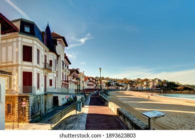 Saint Jean de Luz, France - December 2020 : Seaside resort in wintertime, HDR Image