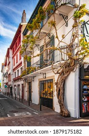 SAINT JEAN DE LUZ, SPAIN - 6 MAY, 2019: Historic old town of St Jean de Luz in the Basque Country, France.