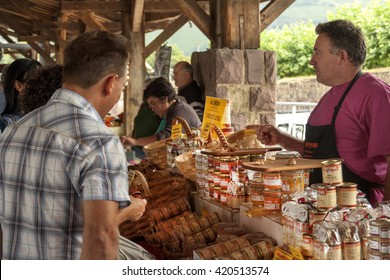 SAINT JEAN PIE DE PORT, BASQUE COUNTRY,FRANCE- July 21th 2014: Some people in food market street