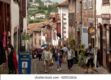 SAINT JEAN PIE DE PORT, BASQUE COUNTRY,FRANCE- July 21Th 2014: Some tourist  people in main street