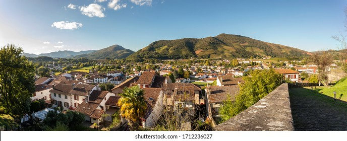 SAINT JEAN PIED DE PORT / France - 10/03/2019: Panoramic view of a beautiful French commune in the administrative region of New Aquitaine, in the department of the Pyrenees-Atlantiques.