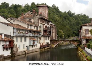 Saint Jean Pied de Port medieval village in france