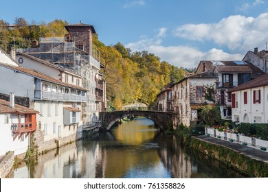 SAINT JEAN PIED DE PORT, BASQUE COUNTRY, FRANCE NOVEMBER 18 2017: Bridge over the river at the starting point of the famous camino de santiago christian pilgrimage route
