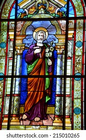 SAINT JEAN PORT JOLI QUEBEC CANADA AUGUST 30 2014: Stained glass window of the church of  Saint-Jean-Port-Joli village in the Regional County of L'Islet in the Chaudi�¨re Appalaches of Quebec, Canada.