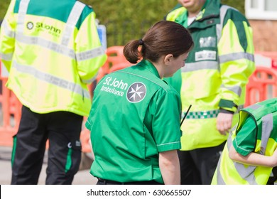 Saint John Ambulance volunteer medical staff that provides first aid cover and training with over 500,000 staff worldwide. Wrexham United Kingdom - April 23rd 2017