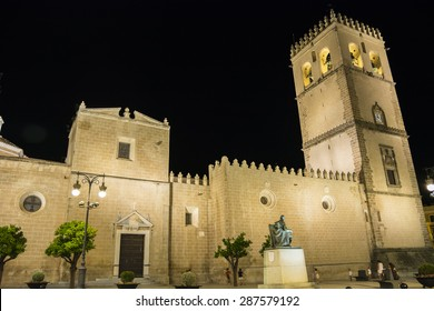 Saint John Baptist Cathedral at night, Badajoz, Spain