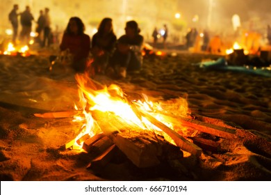 Saint John bonfires in Coruna, Galicia, feast of  international Tourist Interest