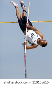 SAINT JOHN, CANADA - AUG 10: Pole vaulter Jose Francisco Gonzalez of Mexico at the North, Central American & Caribbean Masters Track & Field Championships August 10, 2012 in Saint John, Canada.