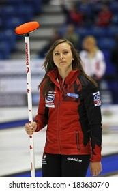 SAINT JOHN, CANADA - March 19: Skip Rachel Homan of Canada after making a successful shot at the Ford World Women's Curling Championship March 19, 2014 in Saint John, Canada.