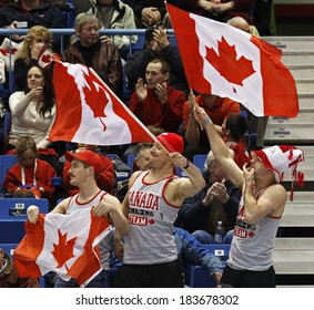 SAINT JOHN, CANADA - March 19: Team Canada fans wave Canadian flags at the Ford World Women's Curling Championship March 19, 2014 in Saint John, Canada.
